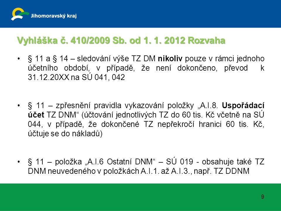 Vyhláška č. 410/2009 Sb. od 1. 1. 2012 Rozvaha § 11 a § 14 – sledování výše TZ DM nikoliv pouze v rámci jednoho účetního období, v případě, že není do