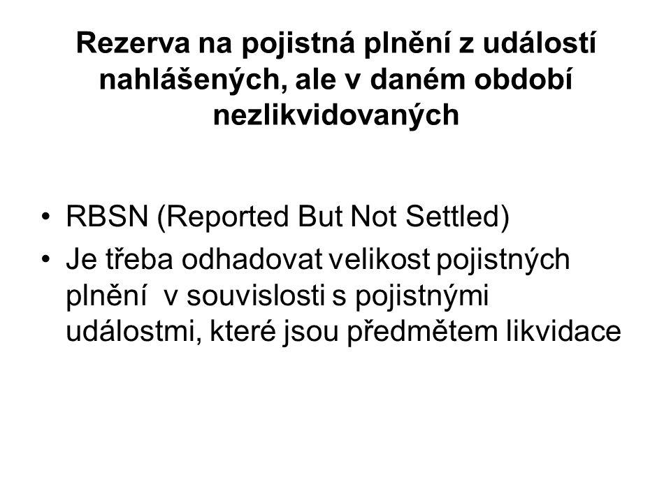 Rezerva na pojistná plnění z událostí nahlášených, ale v daném období nezlikvidovaných RBSN (Reported But Not Settled) Je třeba odhadovat velikost pojistných plnění v souvislosti s pojistnými událostmi, které jsou předmětem likvidace