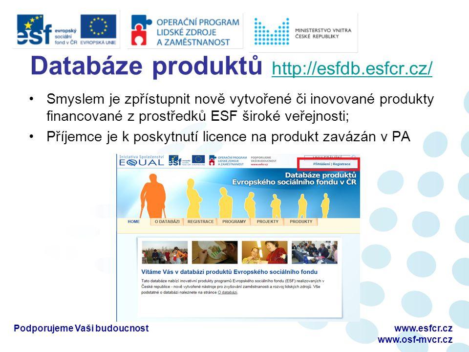 Databáze produktů http://esfdb.esfcr.cz/ http://esfdb.esfcr.cz/ Smyslem je zpřístupnit nově vytvořené či inovované produkty financované z prostředků ESF široké veřejnosti; Příjemce je k poskytnutí licence na produkt zavázán v PA Podporujeme Vaši budoucnostwww.esfcr.cz www.osf-mvcr.cz
