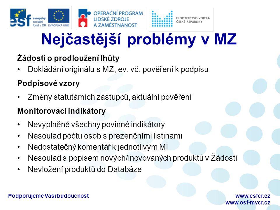 Nejčastější problémy v MZ Žádosti o prodloužení lhůty Dokládání originálu s MZ, ev.