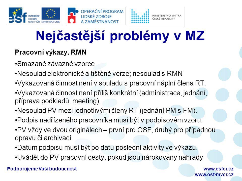 Nejčastější problémy v MZ Pracovní výkazy, RMN Smazané závazné vzorce Nesoulad elektronické a tištěné verze; nesoulad s RMN Vykazovaná činnost není v souladu s pracovní náplní člena RT.
