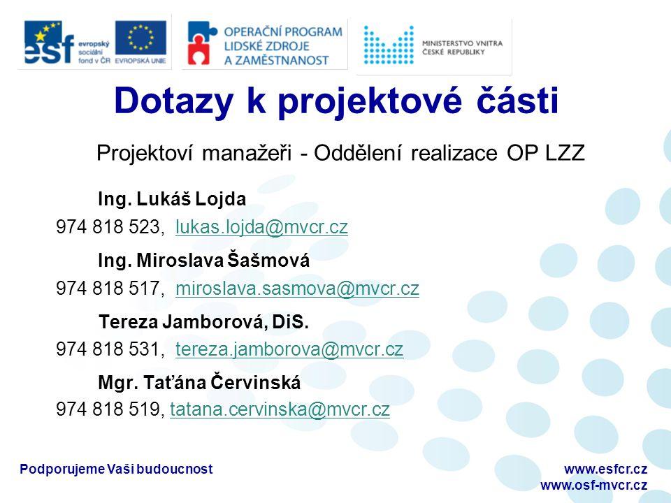 Dotazy k projektové části Projektoví manažeři - Oddělení realizace OP LZZ Ing.