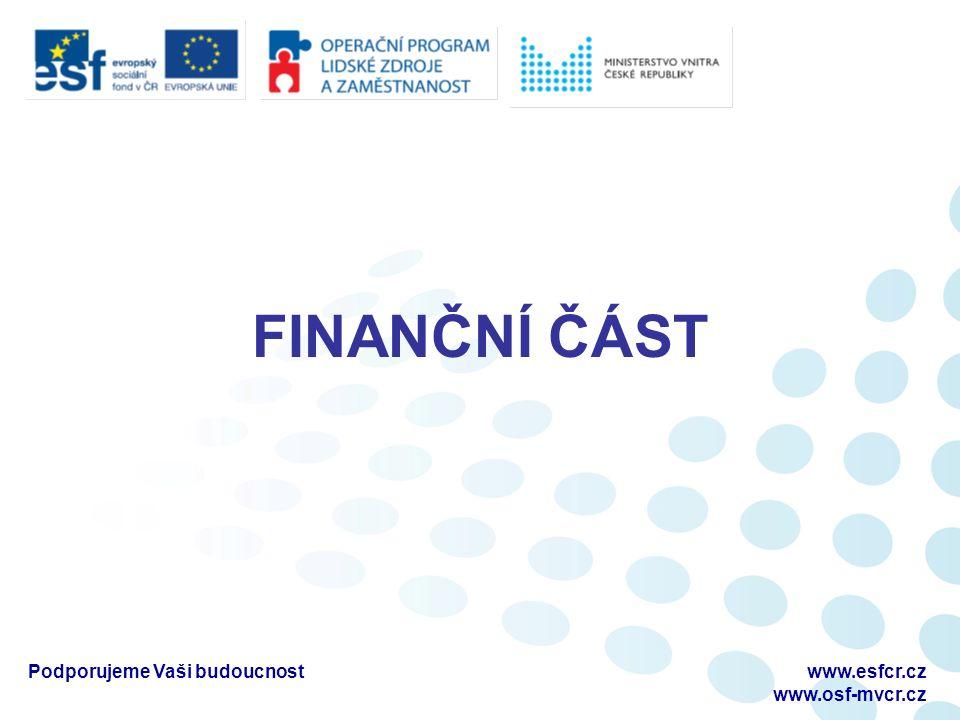 FINANČNÍ ČÁST Podporujeme Vaši budoucnostwww.esfcr.cz www.osf-mvcr.cz