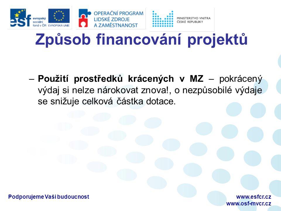 Způsob financování projektů –Použití prostředků krácených v MZ – pokrácený výdaj si nelze nárokovat znova!, o nezpůsobilé výdaje se snižuje celková částka dotace.