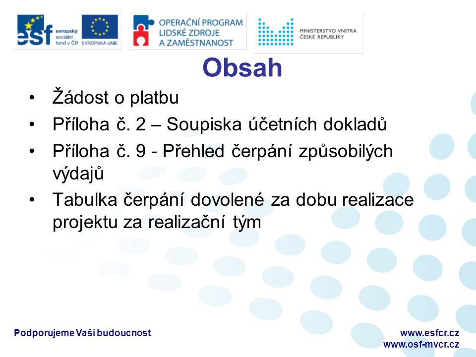 Obsah Žádost o platbu Příloha č. 2 – Soupiska účetních dokladů Příloha č.