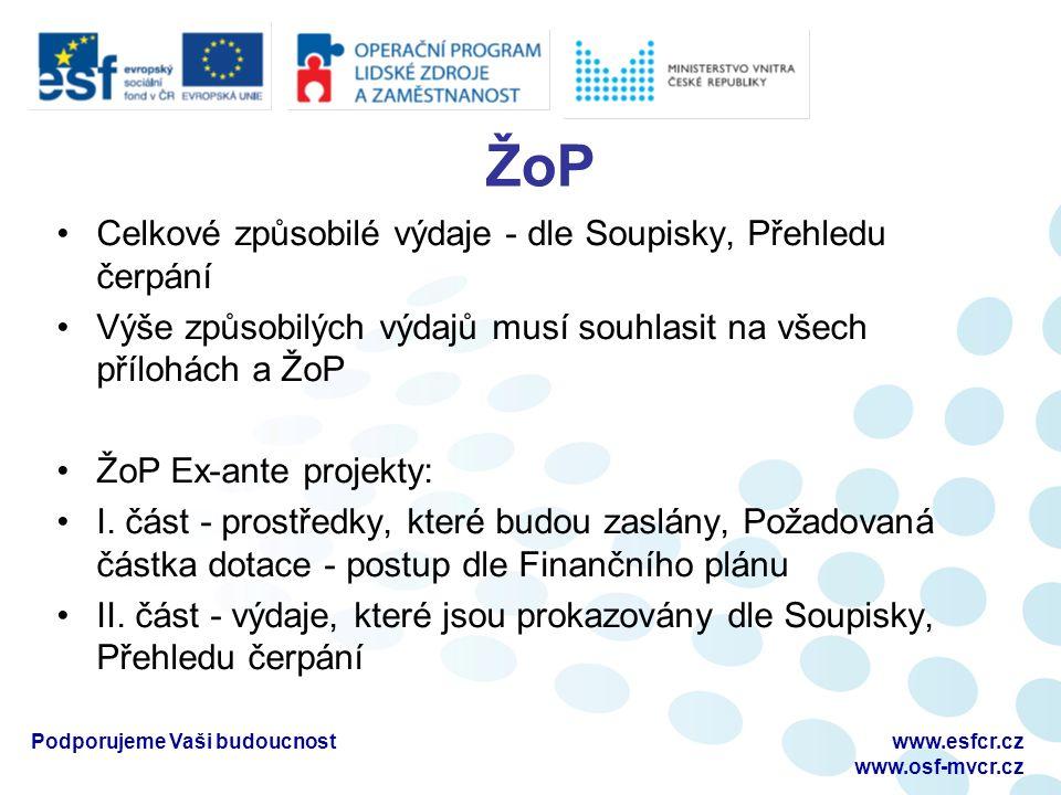 ŽoP Celkové způsobilé výdaje - dle Soupisky, Přehledu čerpání Výše způsobilých výdajů musí souhlasit na všech přílohách a ŽoP ŽoP Ex-ante projekty: I.