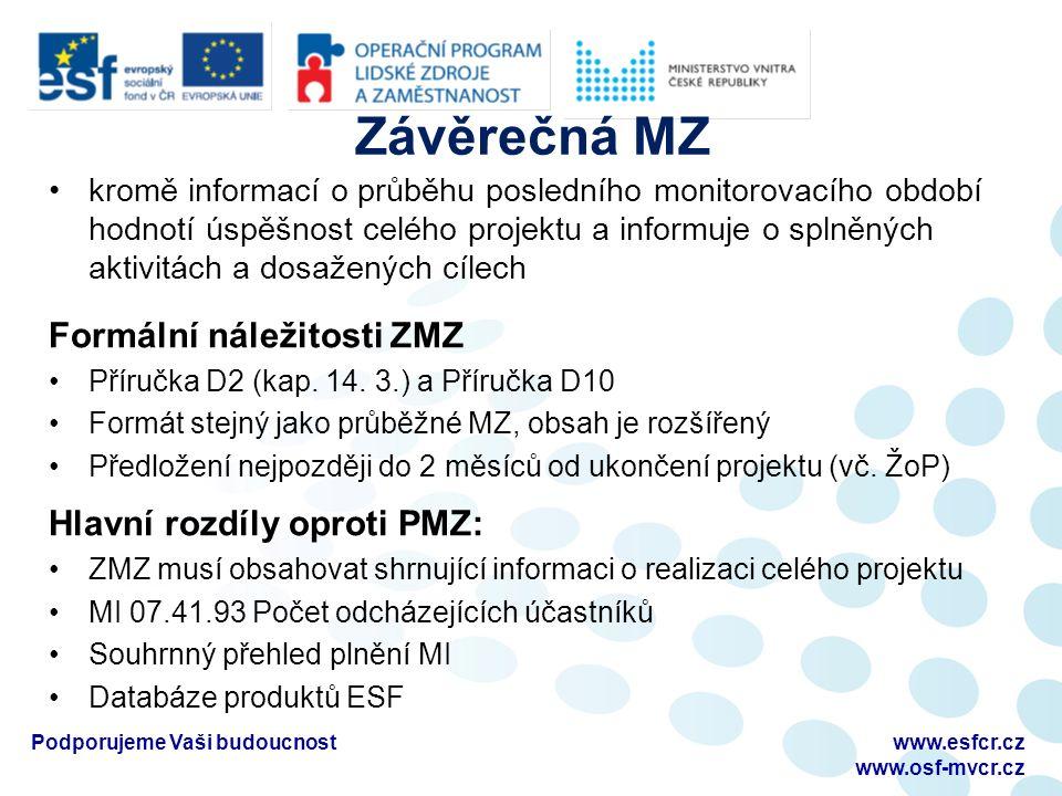 Závěrečná MZ kromě informací o průběhu posledního monitorovacího období hodnotí úspěšnost celého projektu a informuje o splněných aktivitách a dosažených cílech Formální náležitosti ZMZ Příručka D2 (kap.