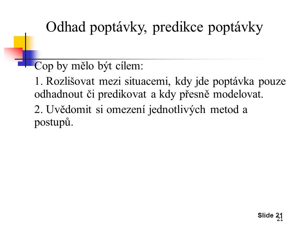 21 Slide 21 Odhad poptávky, predikce poptávky Cop by mělo být cílem: 1.