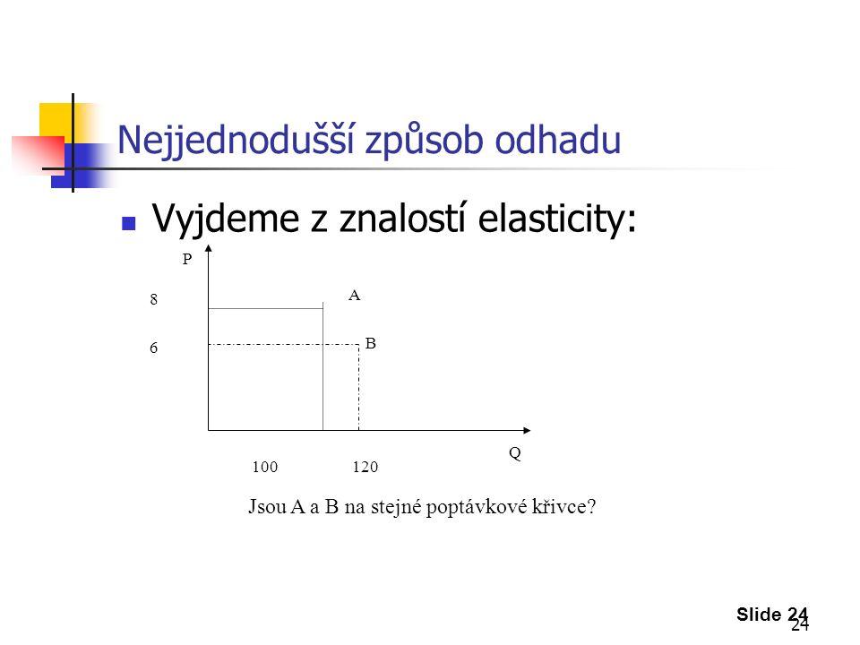 24 Nejjednodušší způsob odhadu Vyjdeme z znalostí elasticity: Slide 24 8686 100 120 A B Jsou A a B na stejné poptávkové křivce.