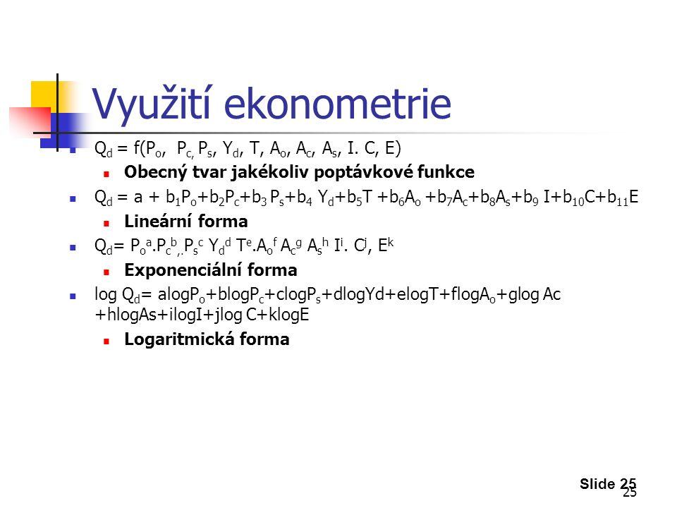 25 Využití ekonometrie Q d = f(P o, P c, P s, Y d, T, A o, A c, A s, I.