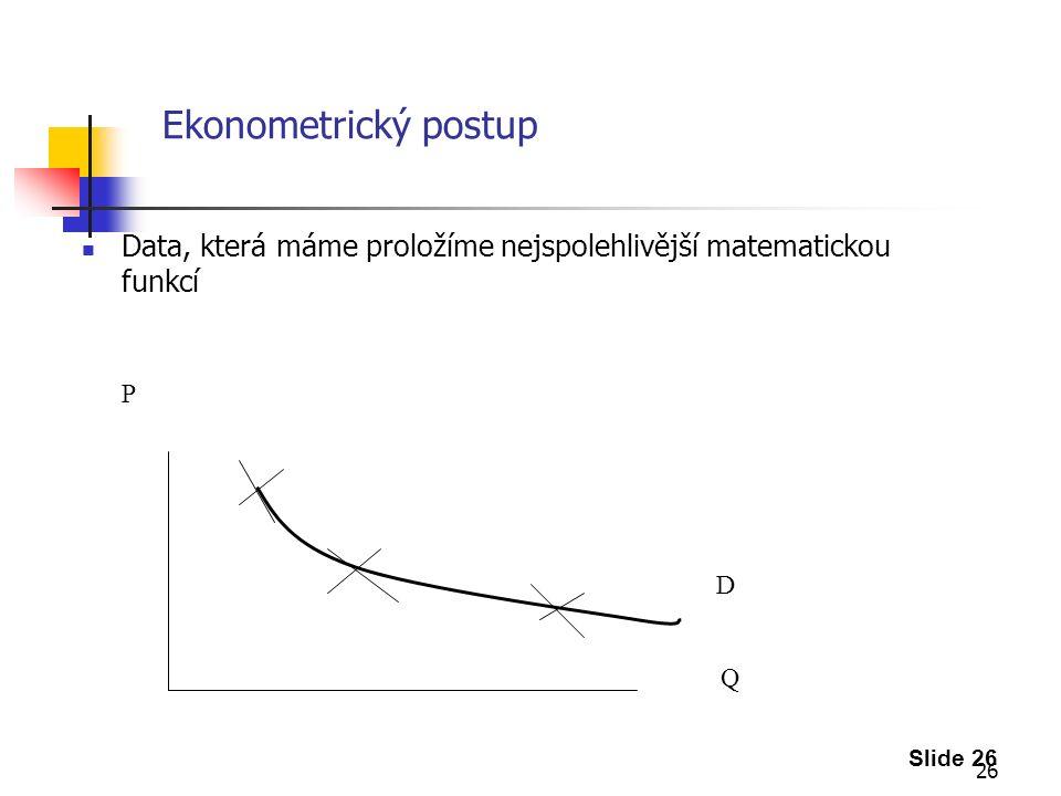 26 Ekonometrický postup Data, která máme proložíme nejspolehlivější matematickou funkcí Slide 26 P Q D