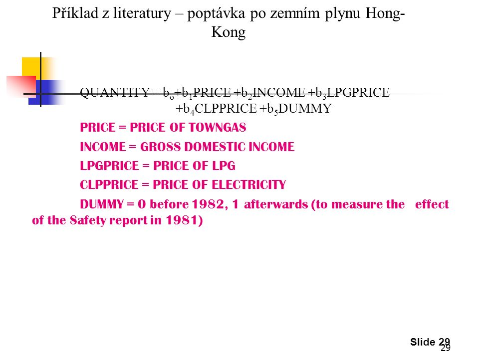 29 Slide 29 Příklad z literatury – poptávka po zemním plynu Hong- Kong QUANTITY = b o +b 1 PRICE +b 2 INCOME +b 3 LPGPRICE +b 4 CLPPRICE +b 5 DUMMY PRICE = PRICE OF TOWNGAS INCOME = GROSS DOMESTIC INCOME LPGPRICE = PRICE OF LPG CLPPRICE = PRICE OF ELECTRICITY DUMMY = 0 before 1982, 1 afterwards (to measure the effect of the Safety report in 1981)