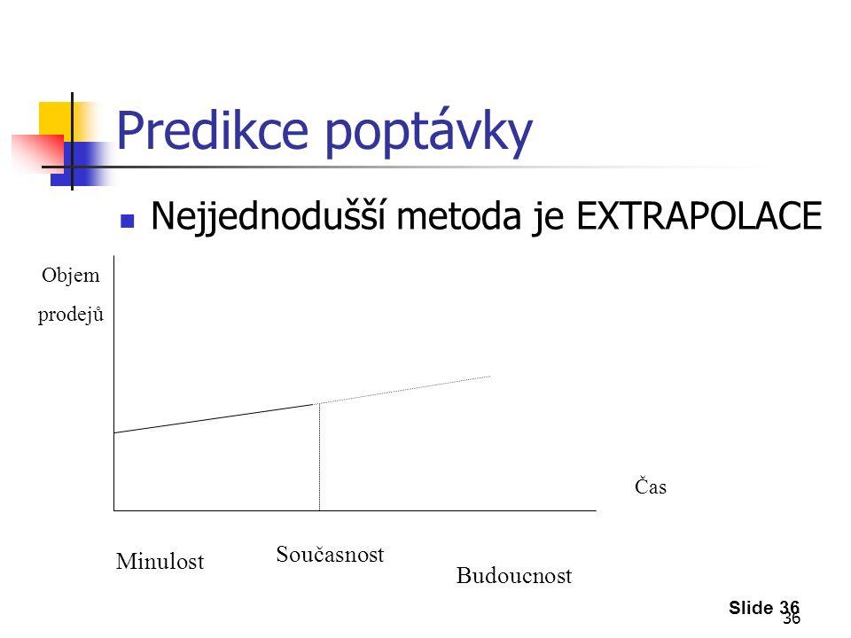 36 Predikce poptávky Nejjednodušší metoda je EXTRAPOLACE Slide 36 Čas Objem prodejů Současnost Minulost Budoucnost