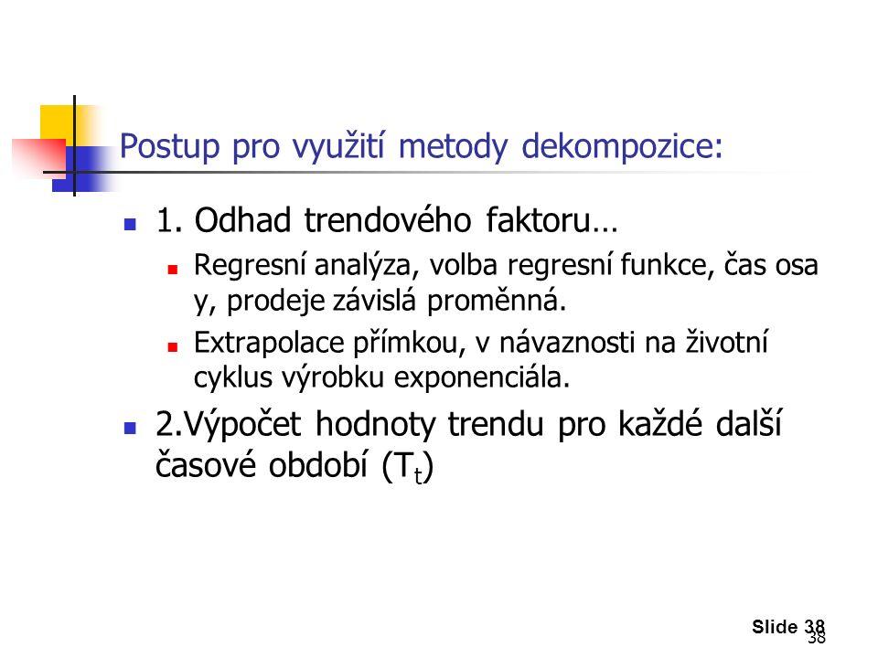 38 Postup pro využití metody dekompozice: 1.
