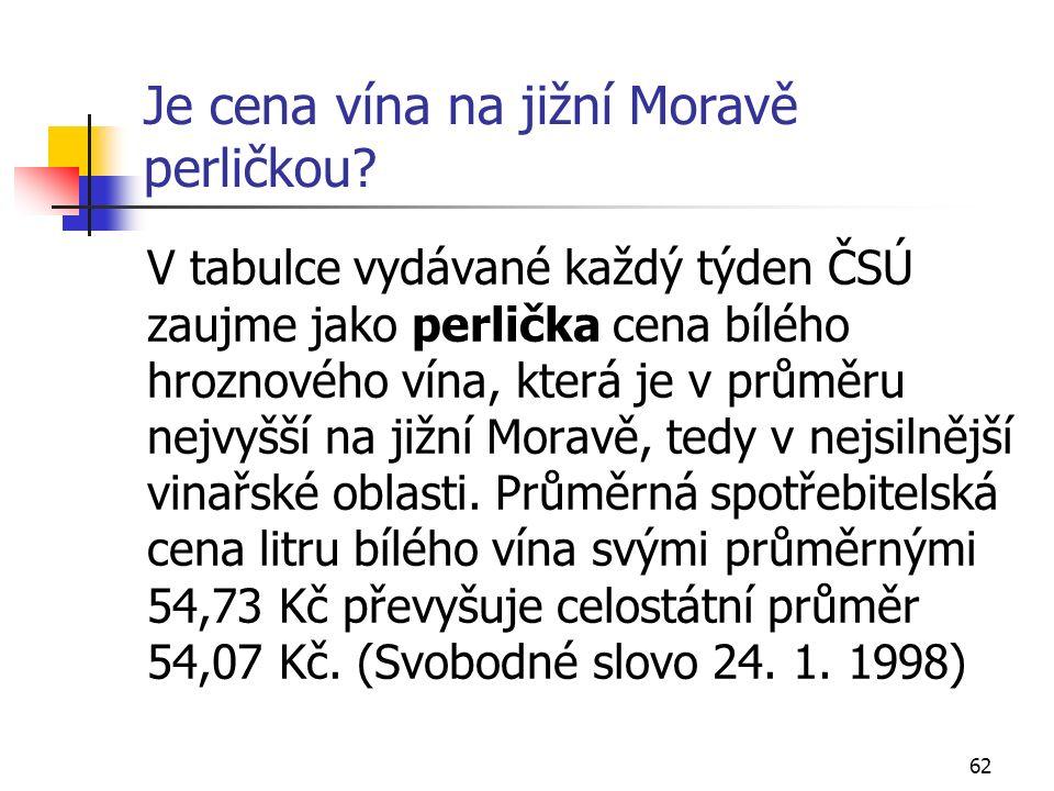 62 Je cena vína na jižní Moravě perličkou.