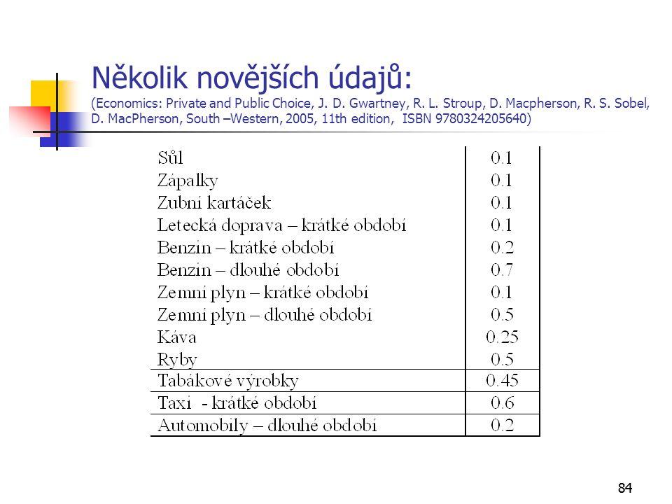 84 Několik novějších údajů: (Economics: Private and Public Choice, J.