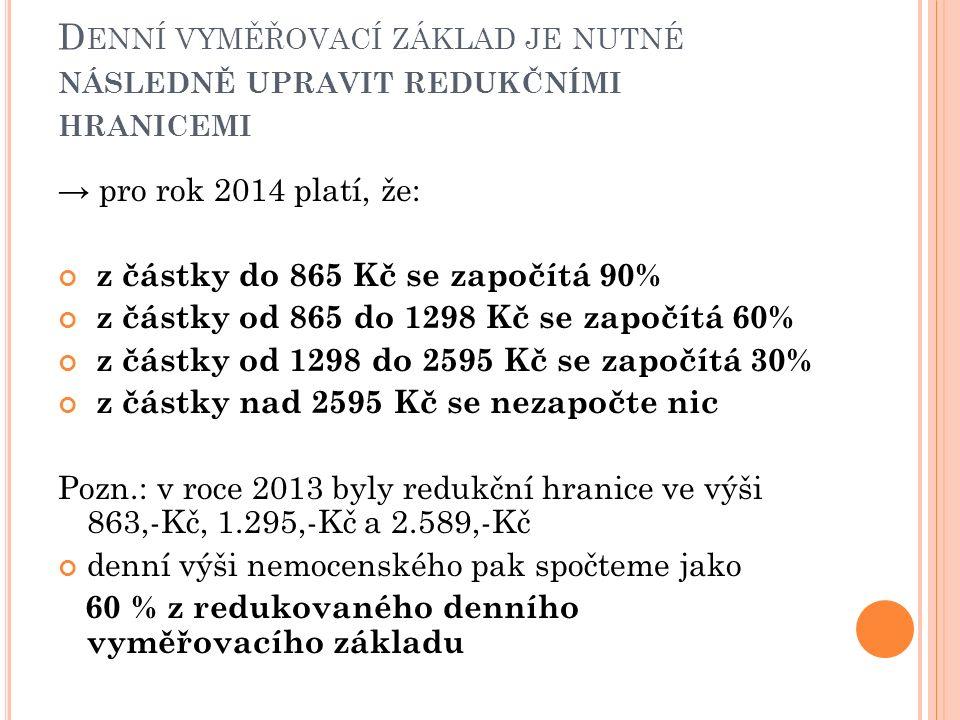 D ENNÍ VYMĚŘOVACÍ ZÁKLAD JE NUTNÉ NÁSLEDNĚ UPRAVIT REDUKČNÍMI HRANICEMI → pro rok 2014 platí, že: z částky do 865 Kč se započítá 90% z částky od 865 do 1298 Kč se započítá 60% z částky od 1298 do 2595 Kč se započítá 30% z částky nad 2595 Kč se nezapočte nic Pozn.: v roce 2013 byly redukční hranice ve výši 863,-Kč, 1.295,-Kč a 2.589,-Kč denní výši nemocenského pak spočteme jako 60 % z redukovaného denního vyměřovacího základu