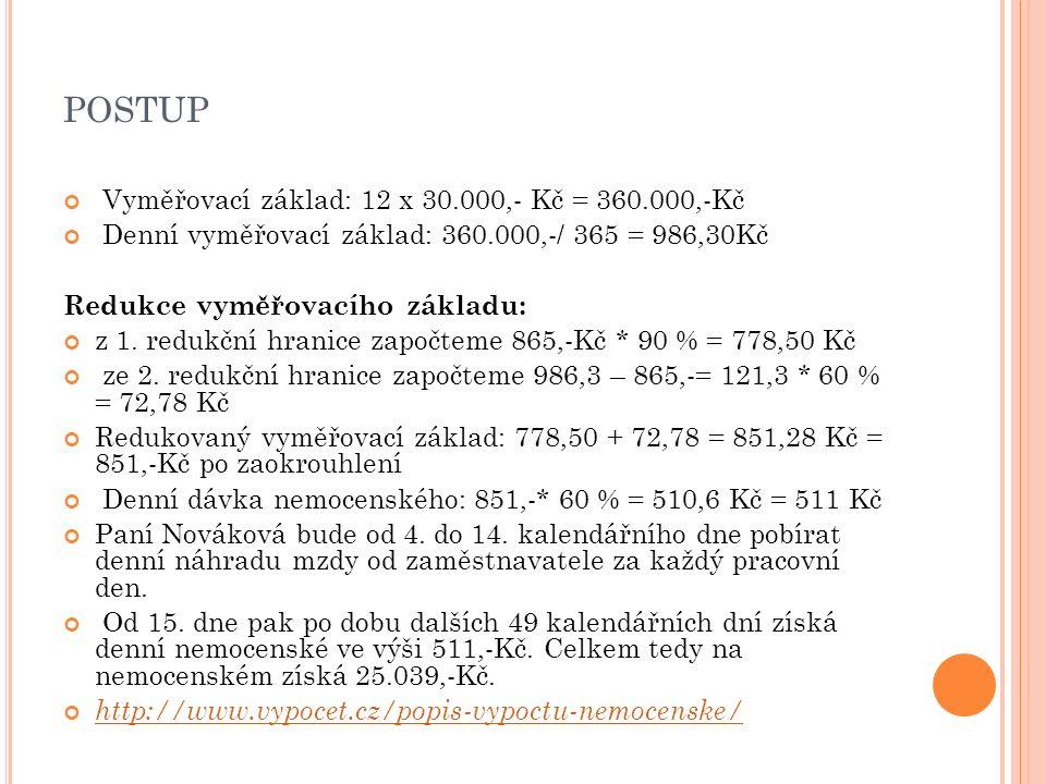 POSTUP Vyměřovací základ: 12 x 30.000,- Kč = 360.000,-Kč Denní vyměřovací základ: 360.000,-/ 365 = 986,30Kč Redukce vyměřovacího základu: z 1.