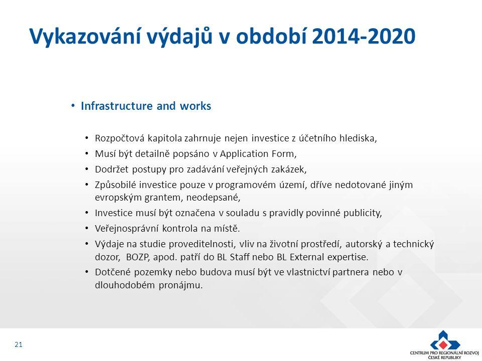 Infrastructure and works Rozpočtová kapitola zahrnuje nejen investice z účetního hlediska, Musí být detailně popsáno v Application Form, Dodržet postupy pro zadávání veřejných zakázek, Způsobilé investice pouze v programovém území, dříve nedotované jiným evropským grantem, neodepsané, Investice musí být označena v souladu s pravidly povinné publicity, Veřejnosprávní kontrola na místě.