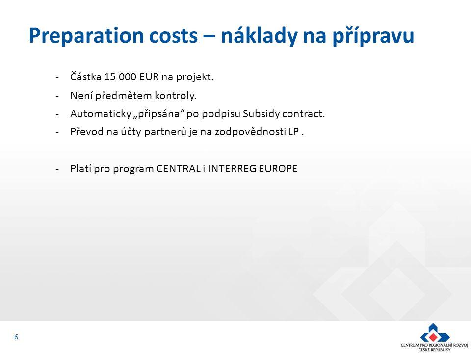 -Částka 15 000 EUR na projekt. -Není předmětem kontroly.