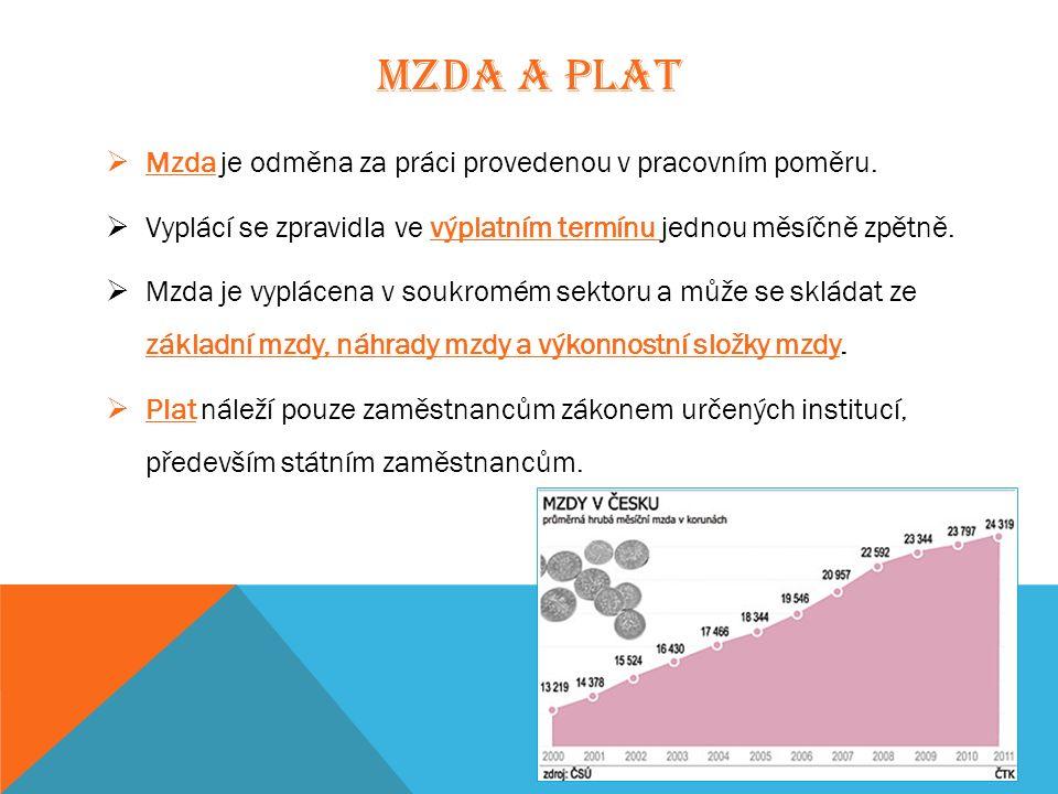MZDA A PLAT  Mzda je odměna za práci provedenou v pracovním poměru.