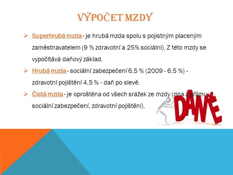 VÝPO Č ET MZDY  Superhrubá mzda - je hrubá mzda spolu s pojistným placeným zaměstnavatelem (9 % zdravotní a 25% sociální).