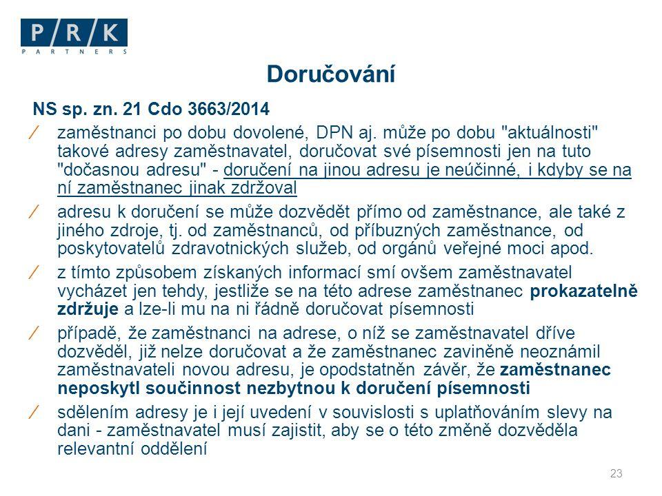 NS sp. zn. 21 Cdo 3663/2014 ⁄zaměstnanci po dobu dovolené, DPN aj.
