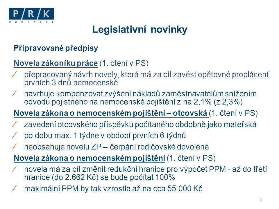 Připravované předpisy Novela zákoníku práce (1.