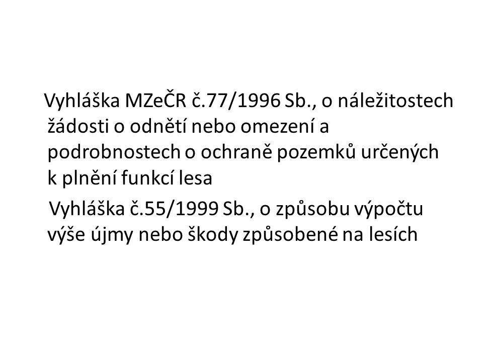 Vyhláška MZeČR č.77/1996 Sb., o náležitostech žádosti o odnětí nebo omezení a podrobnostech o ochraně pozemků určených k plnění funkcí lesa Vyhláška č