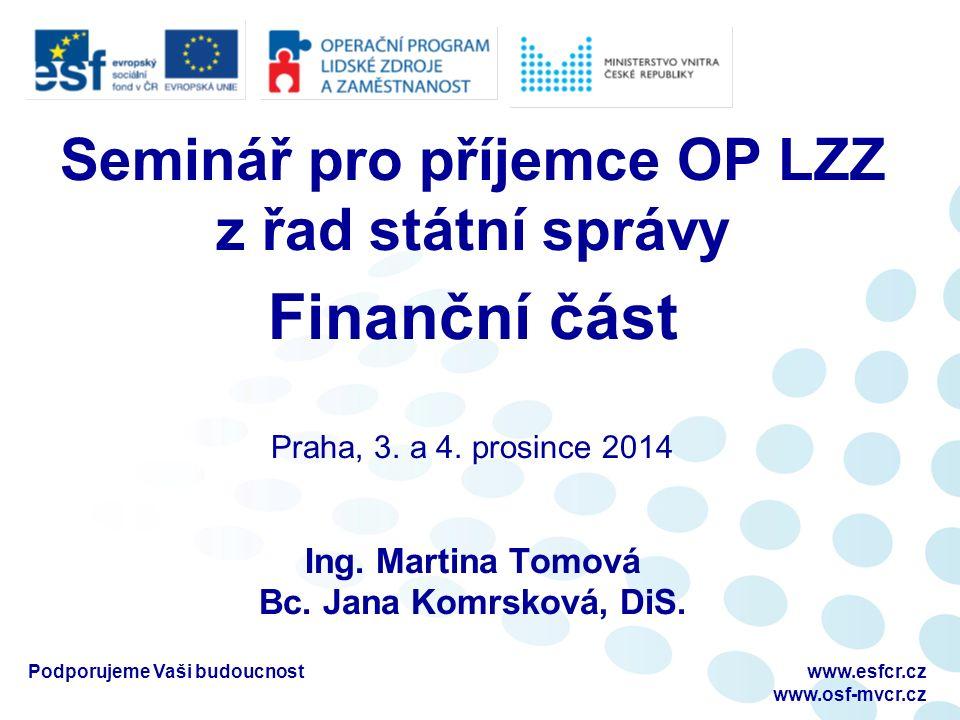 Seminář pro příjemce OP LZZ z řad státní správy Finanční část Praha, 3.