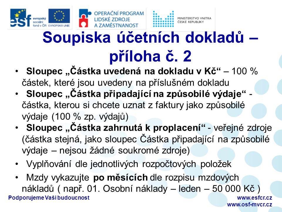 Soupiska účetních dokladů – příloha č.