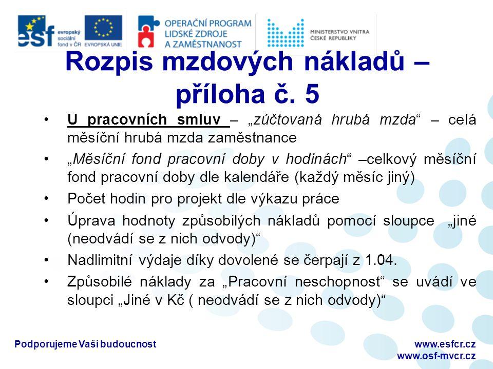 Rozpis mzdových nákladů – příloha č.