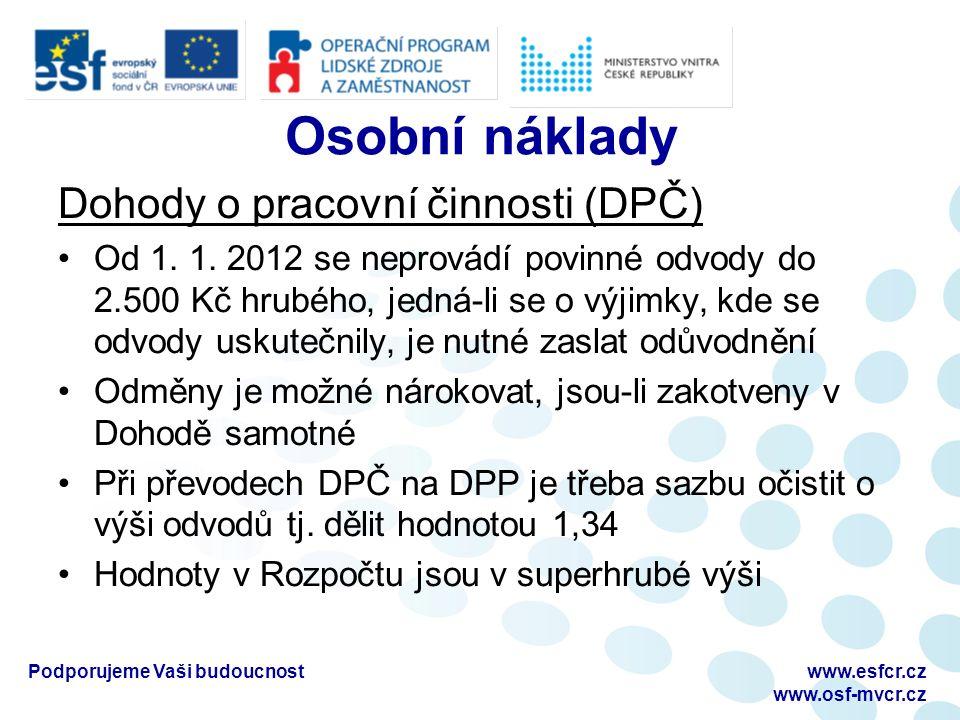 Osobní náklady Dohody o pracovní činnosti (DPČ) Od 1.