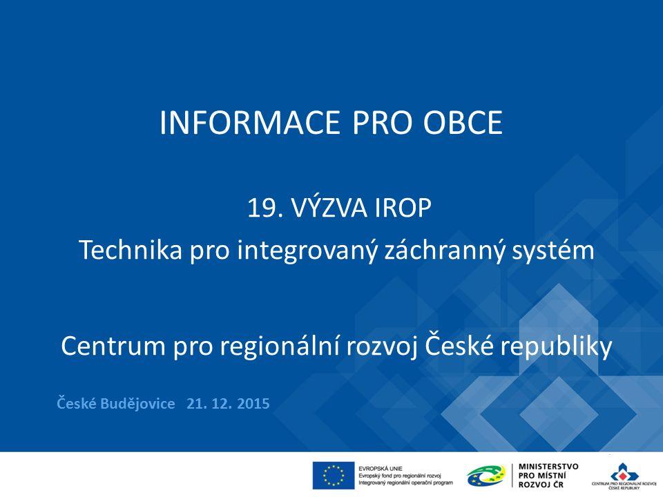 INFORMACE PRO OBCE České Budějovice 21.12. 2015 19.