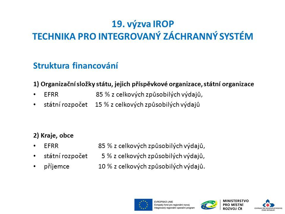 Struktura financování 1) Organizační složky státu, jejich příspěvkové organizace, státní organizace EFRR 85 % z celkových způsobilých výdajů, státní rozpočet 15 % z celkových způsobilých výdajů 2) Kraje, obce EFRR 85 % z celkových způsobilých výdajů, státní rozpočet 5 % z celkových způsobilých výdajů, příjemce 10 % z celkových způsobilých výdajů.