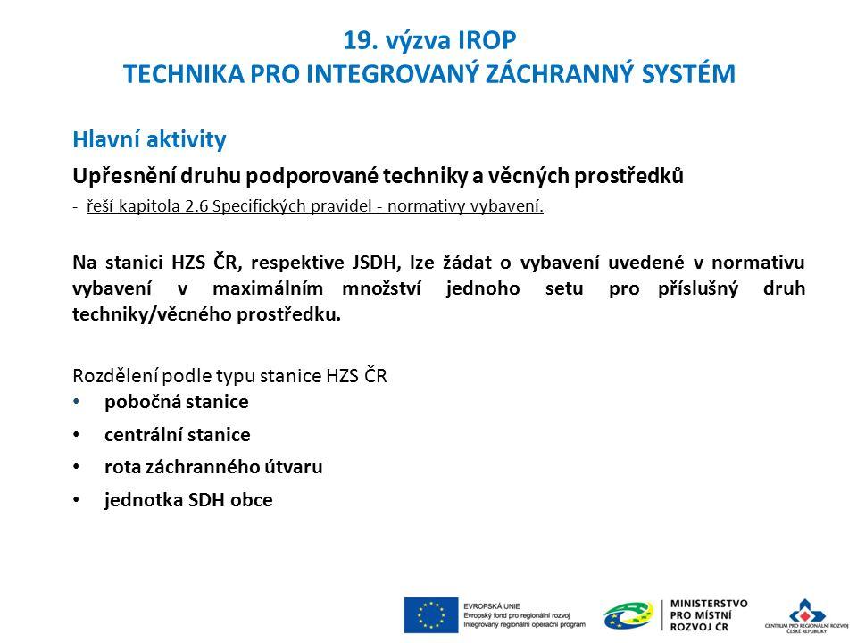 Hlavní aktivity Upřesnění druhu podporované techniky a věcných prostředků - řeší kapitola 2.6 Specifických pravidel - normativy vybavení.