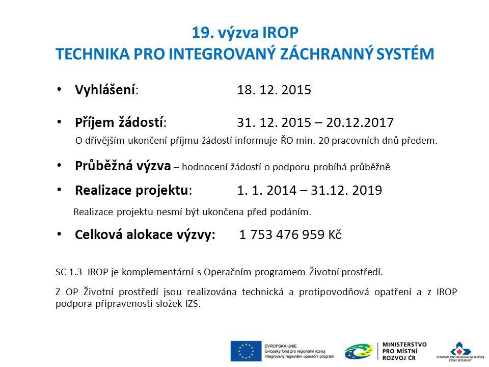 Vyhlášení: 18.12. 2015 Příjem žádostí: 31. 12.