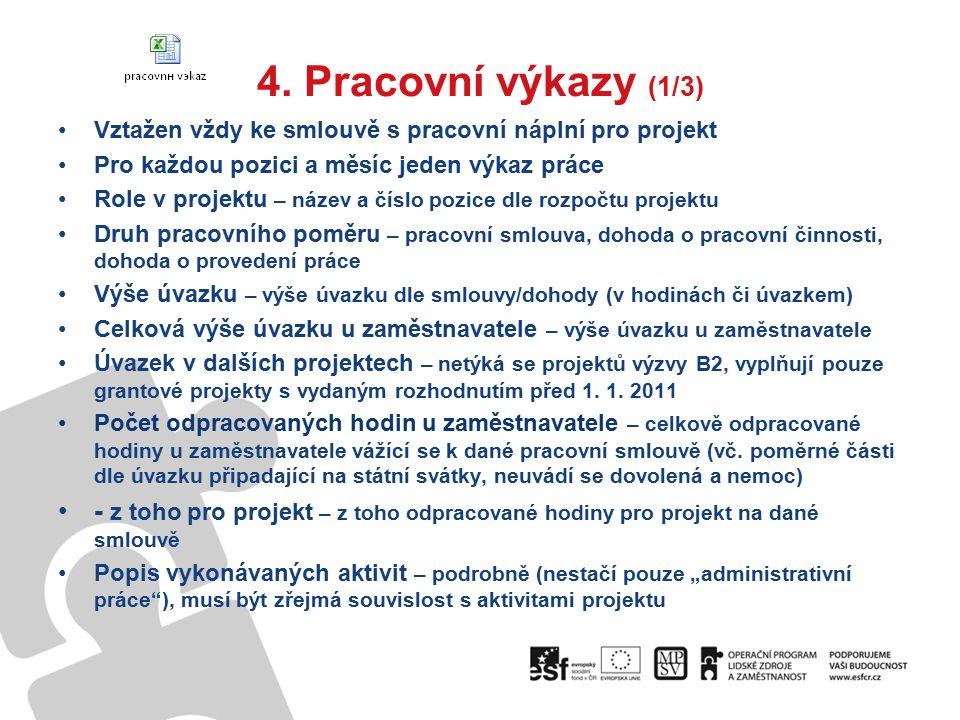 4. Pracovní výkazy (1/3) Vztažen vždy ke smlouvě s pracovní náplní pro projekt Pro každou pozici a měsíc jeden výkaz práce Role v projektu – název a č