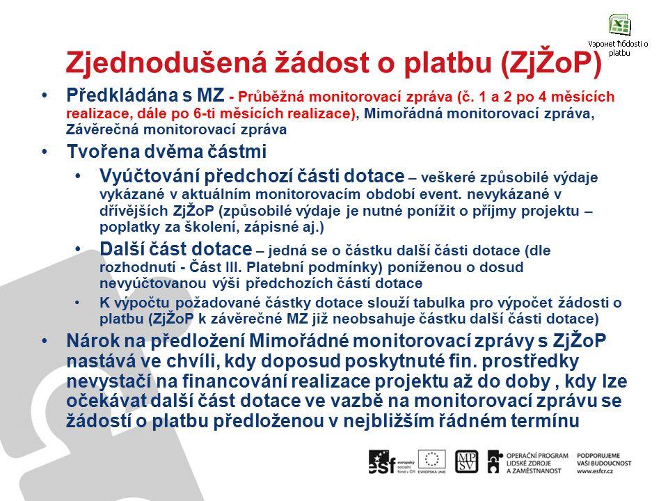 Zjednodušená žádost o platbu (ZjŽoP) Předkládána s MZ - Průběžná monitorovací zpráva (č. 1 a 2 po 4 měsících realizace, dále po 6-ti měsících realizac