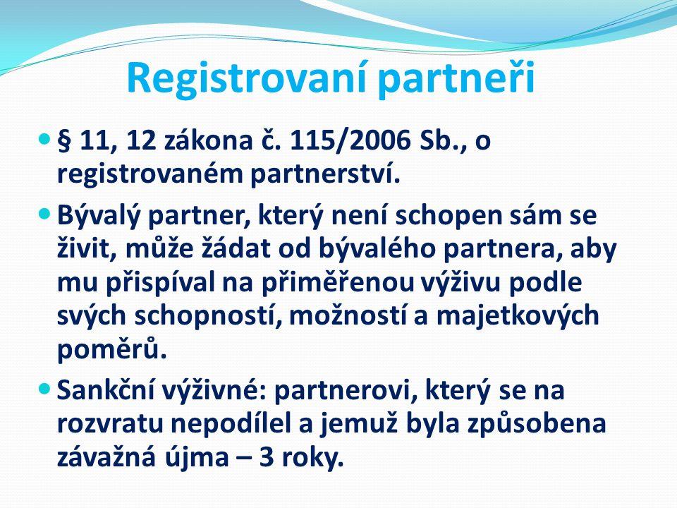 Registrovaní partneři § 11, 12 zákona č. 115/2006 Sb., o registrovaném partnerství. Bývalý partner, který není schopen sám se živit, může žádat od býv