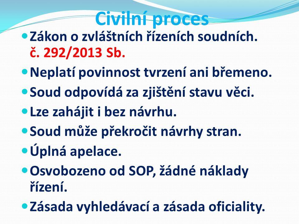 Civilní proces Zákon o zvláštních řízeních soudních. č. 292/2013 Sb. Neplatí povinnost tvrzení ani břemeno. Soud odpovídá za zjištění stavu věci. Lze