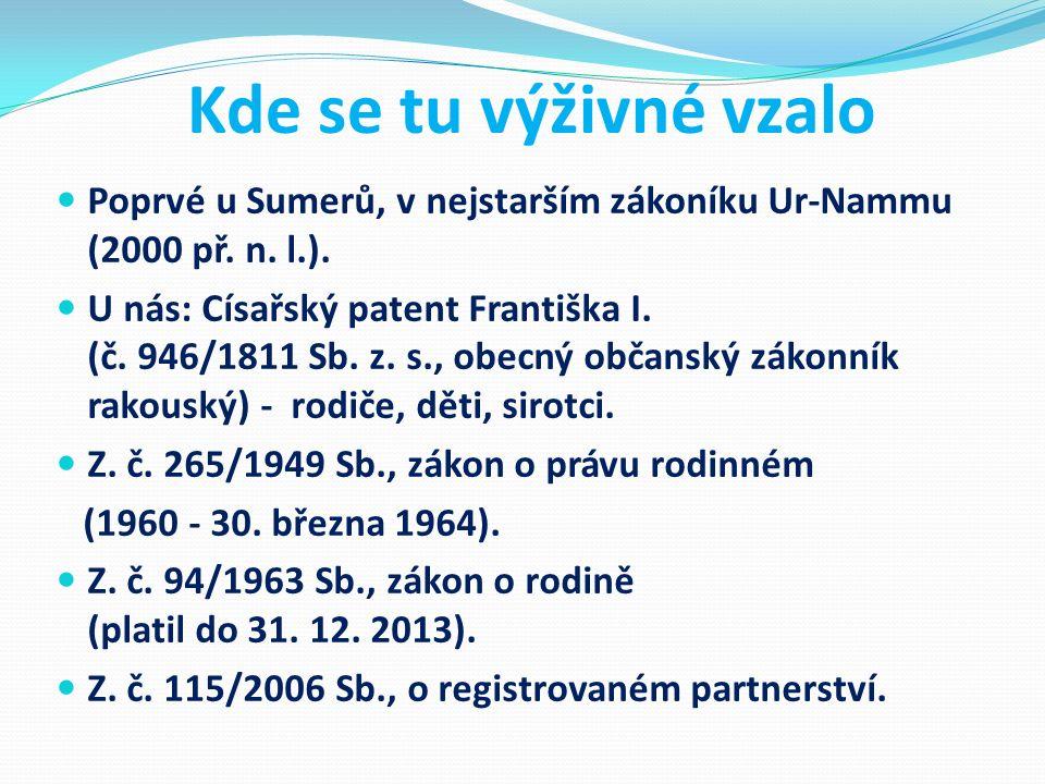 Kde se tu výživné vzalo Poprvé u Sumerů, v nejstarším zákoníku Ur-Nammu (2000 př. n. l.). U nás: Císařský patent Františka I. (č. 946/1811 Sb. z. s.,