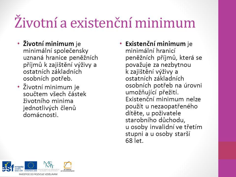 Životní a existenční minimum Životní minimum je minimální společensky uznaná hranice peněžních příjmů k zajištění výživy a ostatních základních osobní