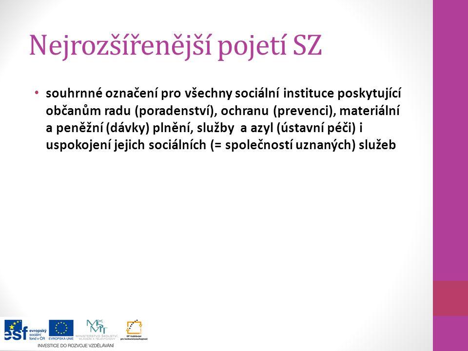 Nejrozšířenější pojetí SZ souhrnné označení pro všechny sociální instituce poskytující občanům radu (poradenství), ochranu (prevenci), materiální a pe