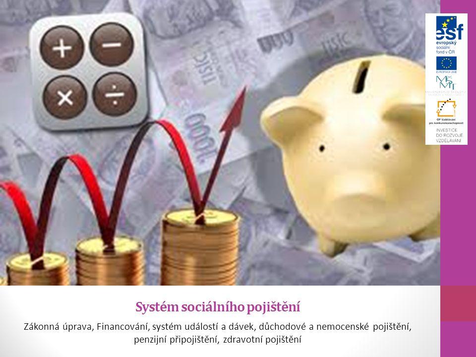 Systém sociálního pojištění Zákonná úprava, Financování, systém událostí a dávek, důchodové a nemocenské pojištění, penzijní připojištění, zdravotní p