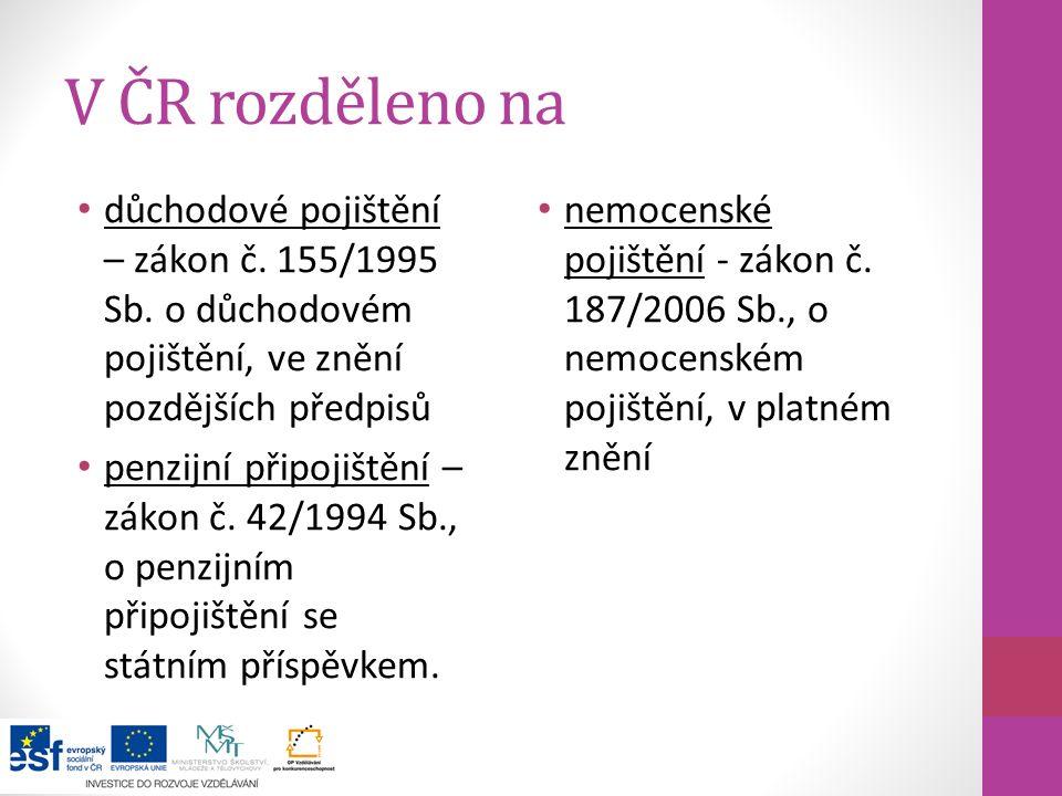 V ČR rozděleno na důchodové pojištění – zákon č. 155/1995 Sb. o důchodovém pojištění, ve znění pozdějších předpisů penzijní připojištění – zákon č. 42
