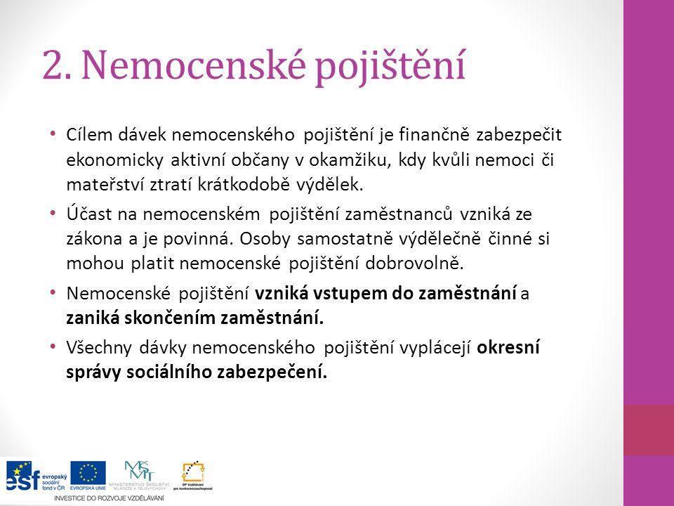 2. Nemocenské pojištění Cílem dávek nemocenského pojištění je finančně zabezpečit ekonomicky aktivní občany v okamžiku, kdy kvůli nemoci či mateřství