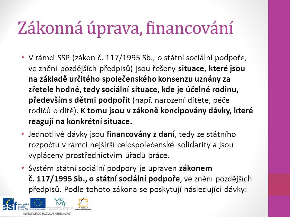Zákonná úprava, financování V rámci SSP (zákon č. 117/1995 Sb., o státní sociální podpoře, ve znění pozdějších předpisů) jsou řešeny situace, které js