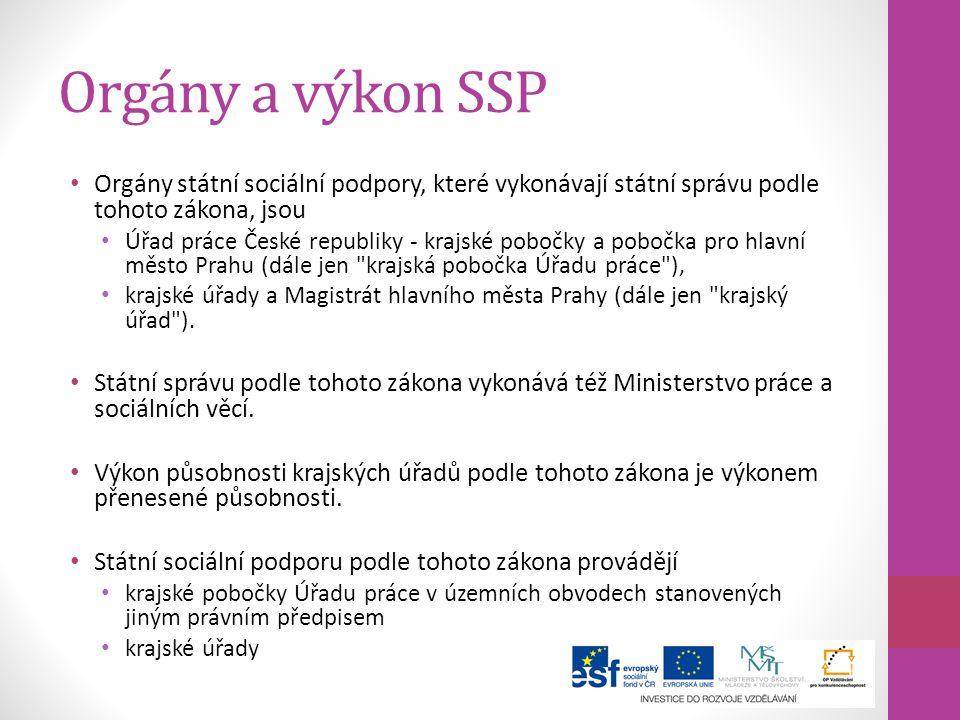 Orgány a výkon SSP Orgány státní sociální podpory, které vykonávají státní správu podle tohoto zákona, jsou Úřad práce České republiky - krajské poboč