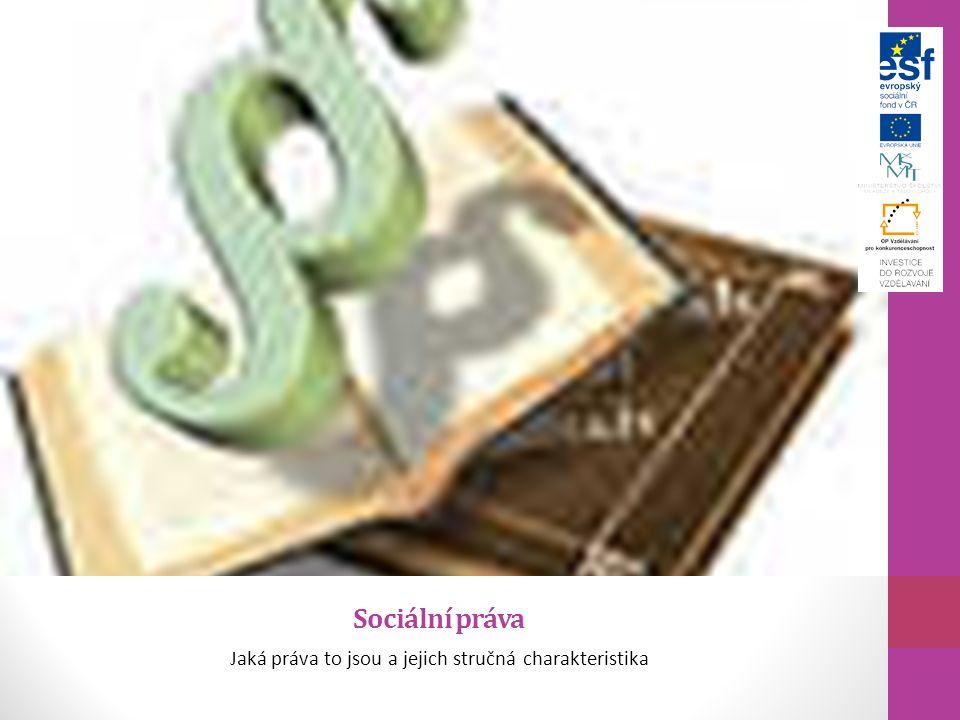 Sociální práva Jaká práva to jsou a jejich stručná charakteristika